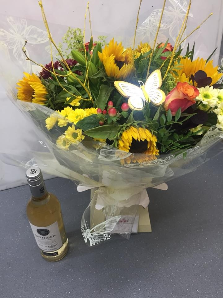 Flower and wine bundle