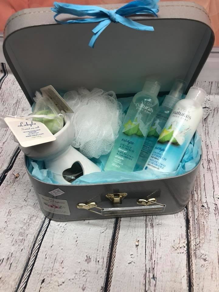 Coconut/tropical bath hamper